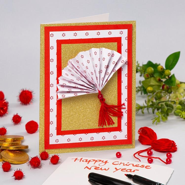 Card Paper Craft K404 Cny Fan Card Main card paper craft getfuncraft.com