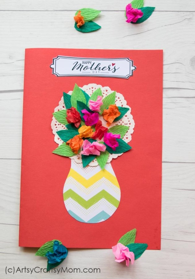 Card Paper Craft Mothers Day Flower Card 1 card paper craft getfuncraft.com