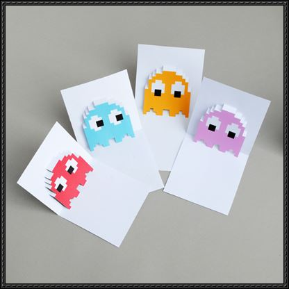 Card Paper Craft Pac Man Ghosts Pop Up Card Papercraft Templates card paper craft|getfuncraft.com