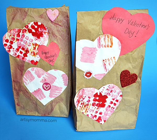 Paper Bag Valentine Crafts Creative Painting Techniquie For Valentines Gift Bags paper bag valentine crafts |getfuncraft.com