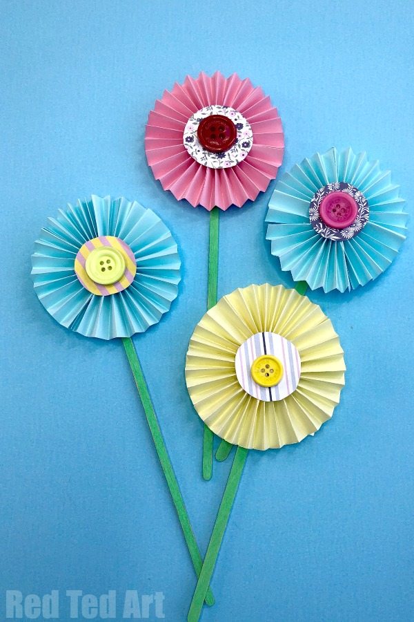 Paper Craft For Kids Flowers Easy Paper Flower Craft 3 paper craft for kids flowers|getfuncraft.com