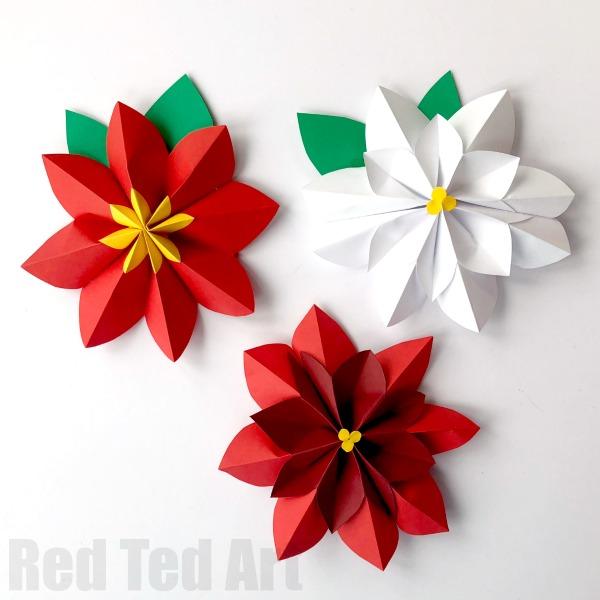 Paper Poinsettia Craft Accordion Paper Flower How To paper poinsettia craft|getfuncraft.com