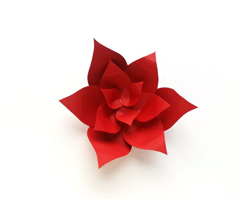 Paper Poinsettia Craft Paper Poinsettia Template Step11 paper poinsettia craft|getfuncraft.com