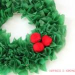 Paper Wreath Craft Kids Christmas Tissue Paper Wreath With Pom Pom Embellishments paper wreath craft getfuncraft.com
