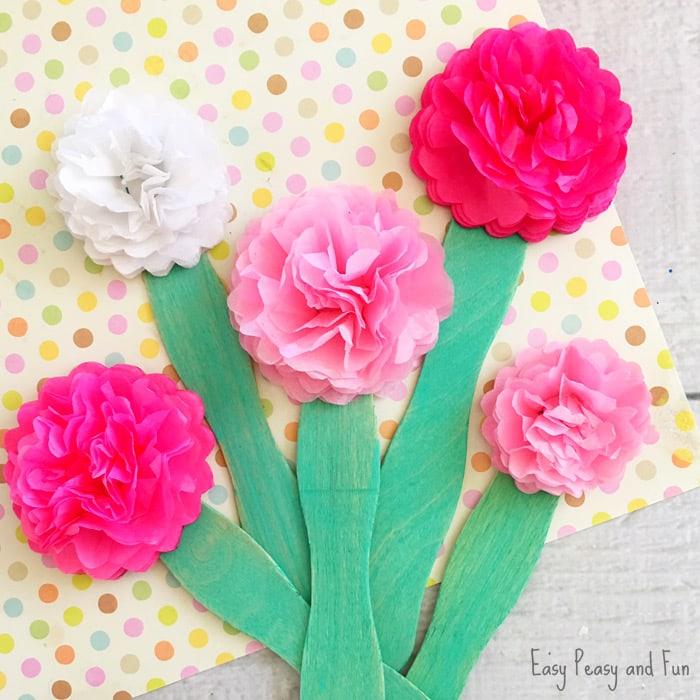 Tissue Paper Crafts Ideas Tissue Paper Flower Craft For Kids tissue paper crafts ideas getfuncraft.com