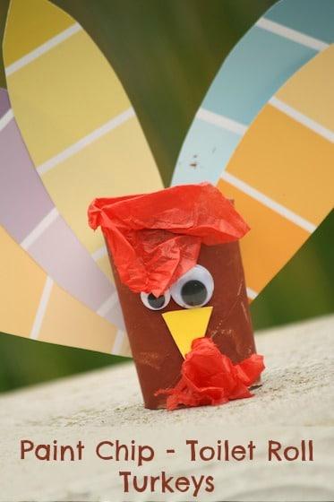 Tissue Paper Turkey Craft Paint Chip Turkeys tissue paper turkey craft |getfuncraft.com