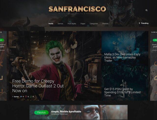 SanFrancisco Gaming WordPress Theme