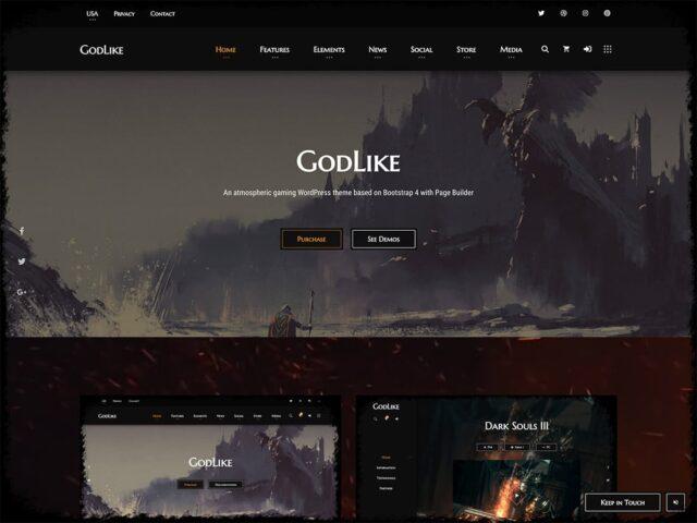 godlike gaming wordpress theme