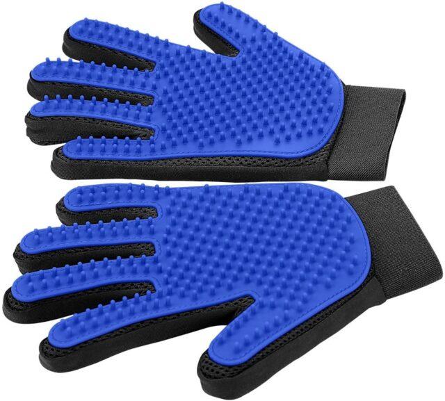 Pet Grooming Glove - Gentle Deshedding Brush Glove - Efficient Pet Hair Remover Mitt - Enhanced Five Finger Design - Perfect for Dog & Cat with Long & Short Fur - 1 Pair