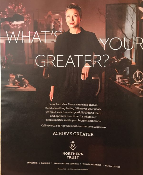Photo of advertisement by Northern Trust as an example of self generativity in marketing advertising