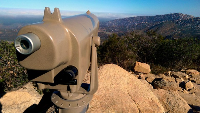 Looking at Mt. Woodson from Iron Mountain Peak