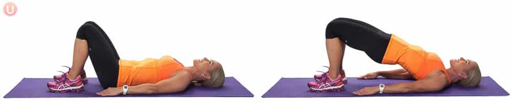 Chris Freytag demonstrating Glute Bridge on a purple yoga mat