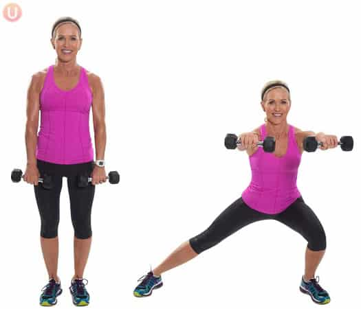 Chris Freytag demonstrating Alternating Side Lunge with Front Raise in a pink tank to with black dumbbells