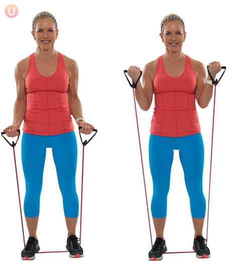 Try a resistance band bicep curl to build muscle.