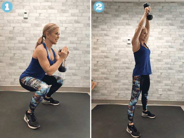 Goblet squats are a move in our AMRAP workout.