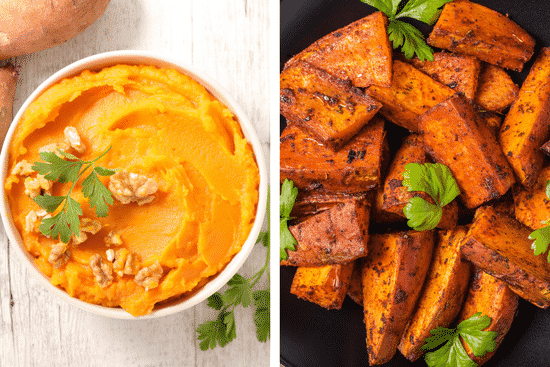 Swap those marshmallow sweet potatoes for a healthier and yet still delicious mashed or roasted sweet potato recipe.