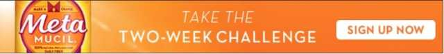 "Orange Banner with white text ""take the two week challenge; sign up today."" Metamucil branding on left side corner."