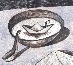 paper boat in bowl of soup