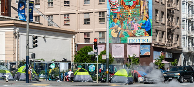 homeless tents on sidewalk in San Francisco