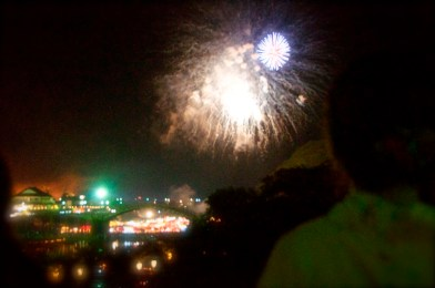 Views of the Fireworks from up on the Road Bridge