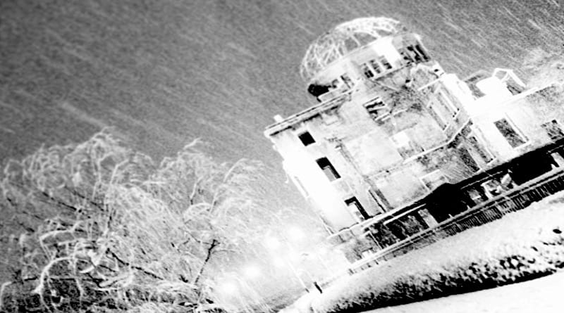 Hiroshima's A-bomb Dome monument in a heavy snowstorm