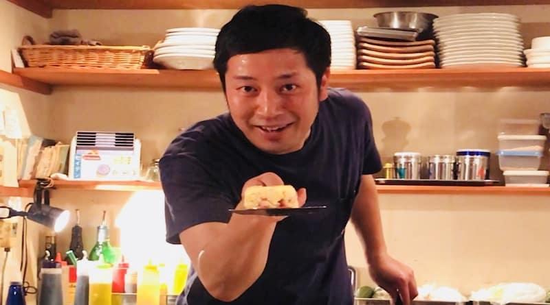 KOtaro, owner of Rojiura Teppan Kotaro's grill restaurant in Hiroshima Japan