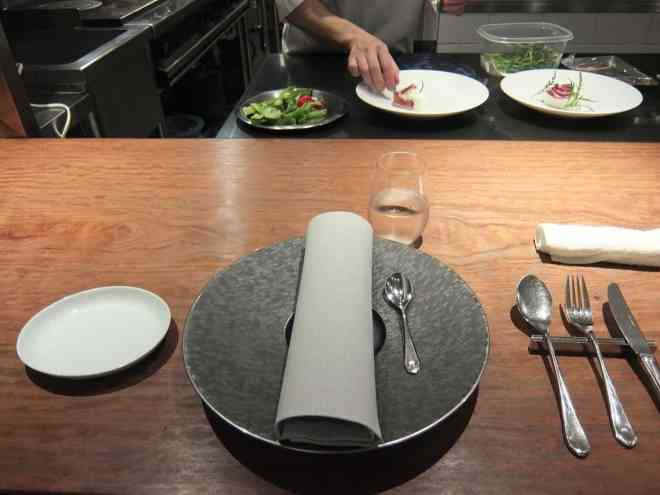 Place setting at the counter in Michelin starred restaurant Hiroto in Hiroshima, Japan