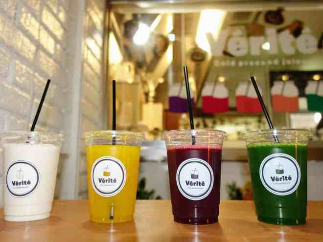 Verite cold pressed juice line up, Hiroshima