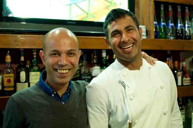 Owner Prakash and chef at Kemby's bar and grill in Hiroshima, Japan