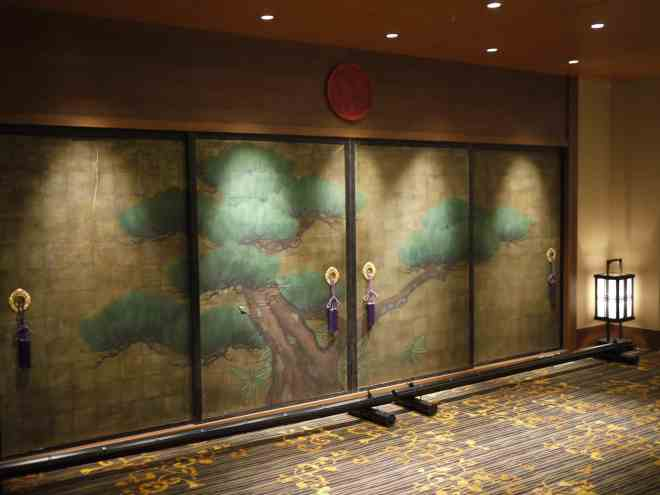 lovely screen doors are part of Hatchoza theater in Hiroshima's retro design