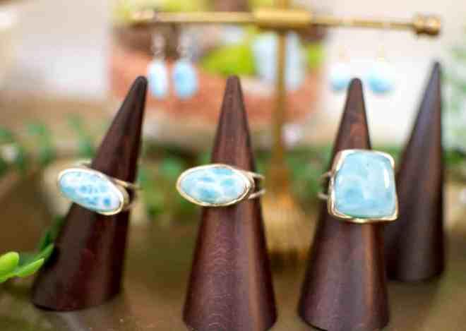 Fleur Bleue larimar rings