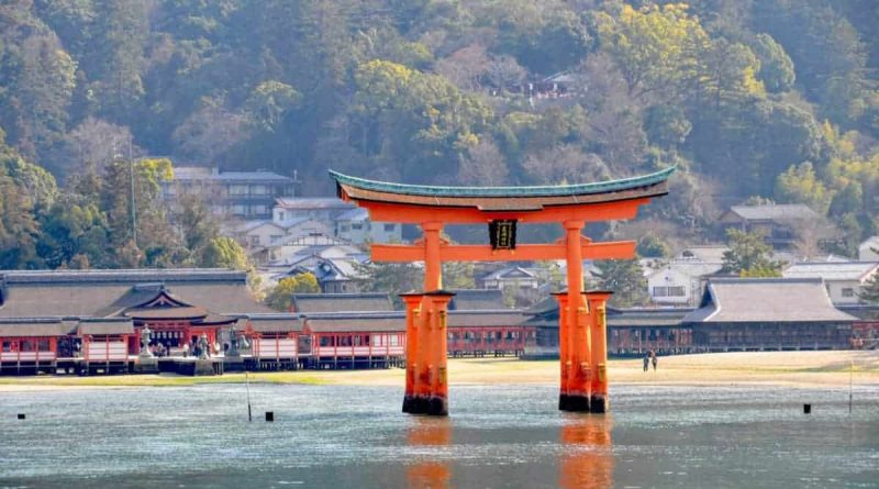 Itsukushima Shrine on Miyajima at high tide