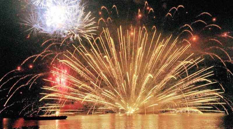 Miyajima fireworks festival hiroshima japan