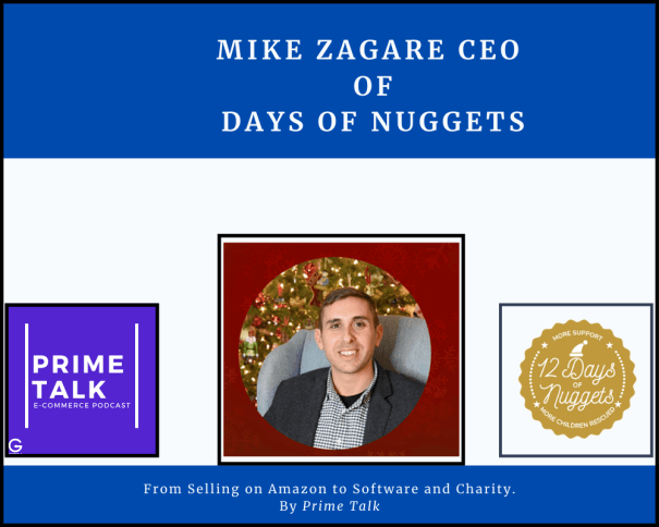 face image of mike zagare and logos of days of nuggests, getida, primetalk