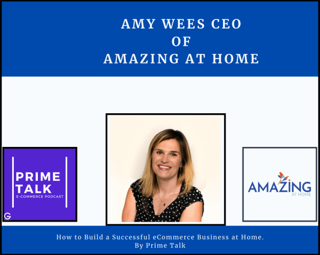 face photo of amy wees and logos of amazing at home, getida and primetalk