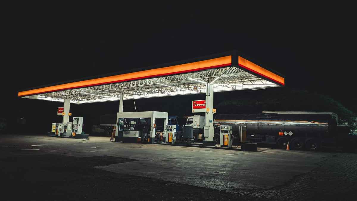 an empty gas station