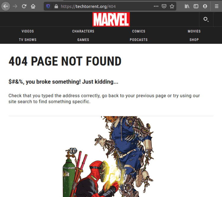 Marvel's 404 page