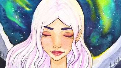 Easy watercolor painting- night sky galaxy manga portrait