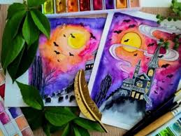 Paint an Easy Haunted House with Watercolors