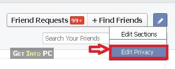 hide friends list on facebook step 3 click on privacy section
