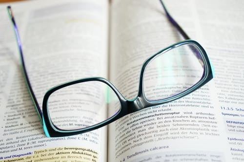 glasses on dictionary