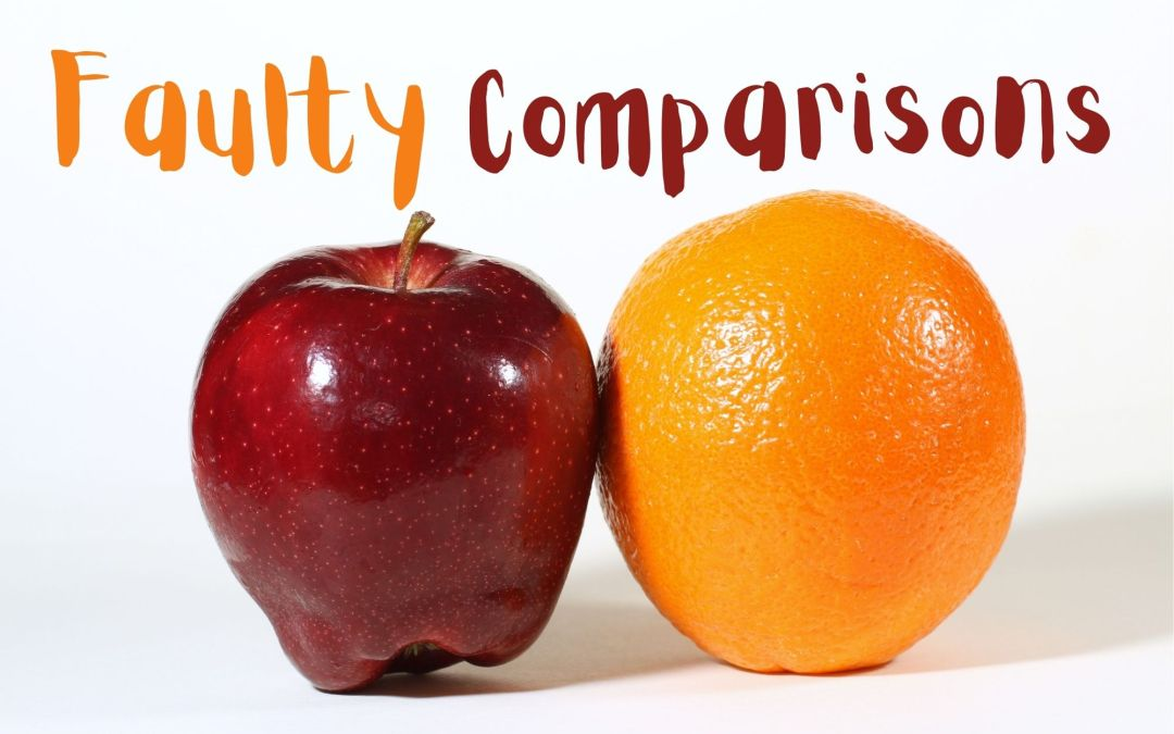 """an apple and an orange and the words """"faulty comparison"""" above them"""
