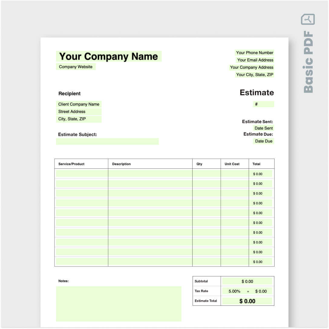 General purpose, fillable, hvac proposal form for use by heating,. Hvac Estimate Template Jobber Academy Free Tools