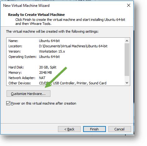 vmware workstation customize hardwardware