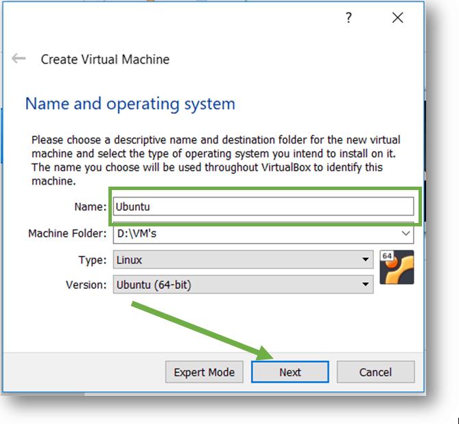 name the Ubuntu VM name in virtualbox