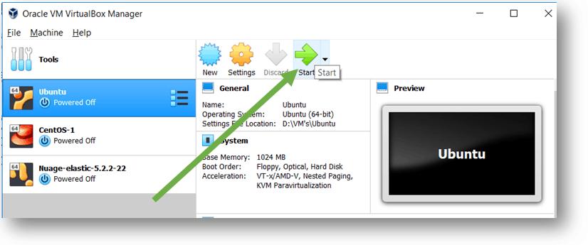 start ubuntu vm installation in virtualbox