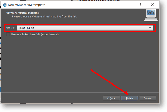 select Ubuntu vm from the list