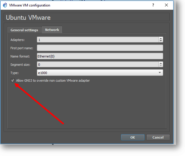 check box allow GNS3 to overried non custom VMware adapter