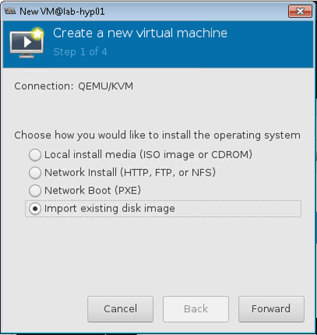 import existing disk image for Nuage VSD installation