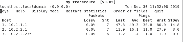 Running traceroute on the overlay network
